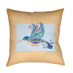 Thumbprintz Funky Hummingbird Decrotive Pillow (18 x 18), Multi (Polyester, Graphic Print)