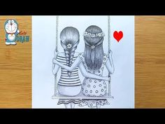 How to draw Best friends sitting together on a swing Pencil Sketch Tutorial, Pencil Sketch Drawing, Sketches Tutorial, Pencil Art Drawings, Sketch Art, Girl Drawing Sketches, Girly Drawings, Art Drawings Sketches Simple, Cool Drawings