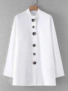 Shop Button Up Longline Shirt online. SheIn offers Button Up Longline Shirt & more to fit your fashionable needs. Estilo Fashion, Fashion Mode, Fashion Outfits, Plain White Shirt, White Linen Shirt, Simple Shirts, Plain Shirts, Blouse Styles, Blouse Designs