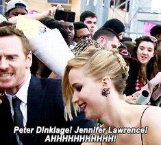 Michael Fassbender fangirling over Jennifer Lawrence & Peter Dinklage. He's hilarious!