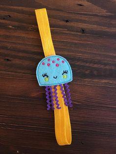 Happy Yellow Jellyfish stretchy bookmark planner band inexpensive gift boss gift employee gift midori accessories travelers notebook feltie