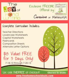 The Joy of Handwriting FREE Curriculum -- through July 20, 2013 only!
