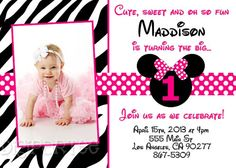 minnie mouse zebra invitation