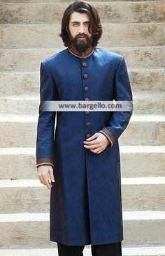 Rich Look Embellished Jamawar Groom Sherwani Richmond Virginia VA US Sherwani for Mens M839 New Arrivals