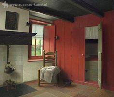 Giclée Henk Helmantel - Hoeske van Thais Joaptje in Rottum (Gron. Old Fashioned House, Dutch Kitchen, Box Bed, Rustic Home Design, Art Deco Posters, Old Farm Houses, Dutch Painters, Vintage Interiors, Dutch Artists