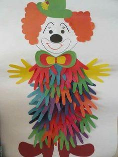 18 Handprint Crafts for Kids Ideas -Relaxwoman Clown Crafts, Paper Crafts For Kids, Projects For Kids, Diy For Kids, Art Projects, Diy And Crafts, Arts And Crafts, Carnival Crafts Kids, Craft Activities