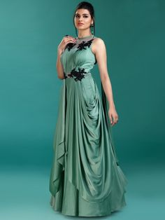 Gorgeous Green Hue Gown In Satin,latest design in gown, designer gown for reception function, latest design in gown for wedding, Designer gown, Latest design for gown 2019, shop online designer gown for wedding, Designer gown for the bride, new collection reception gown, designer gown for reception, fresh collection gown 2019, Winter collection reception gown, summer collection reception gown