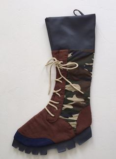 Camo Hunters Lace Up Work Boot Christmas Stocking    eBay