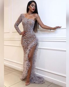 Fashion silver one-shoulder lace perspective high slit evening dress – venuseco Prom Girl Dresses, Prom Outfits, Glam Dresses, Elegant Dresses, Pretty Dresses, Sexy Dresses, Beautiful Dresses, Fashion Dresses, Backless Dresses