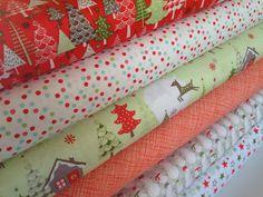Christmas fabric Merry Little Christmas fabric bundle by Riley Blake- Yard Bundle, 6 total
