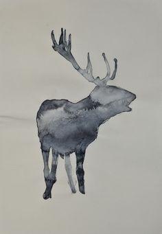Hermann Zsófia, szarvas, akvarell, akril, acrylic , papír, 14,8x21cm művészet Deer, Moose Art, Painting, Animals, Animales, Animaux, Painting Art, Paintings, Animal