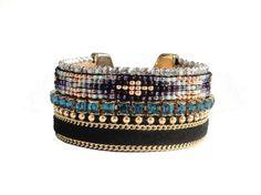Beadloom bracelet - native american jewelry - tribal cuff - handmade bracelet with Swarovski crystal - christmas gift for her