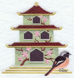 Japanese Birdhouse with Daurian Redstart design (E3301) from www.Emblibrary.com