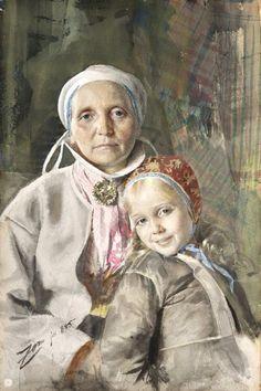 Anders Zorn  (Swedish, 1860 - 1920) Mona and Karin