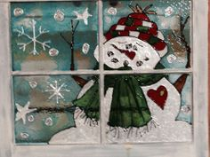 Glass paint idea for old windows hanging on back fence.