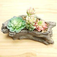 Molde de Vaso Tronco de Árvore  Ref 707 139, Stone, Garden, Incense, Wood Trunk, Jars, Vases, Molde, Succulents