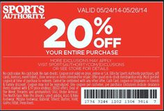 Sports Authority Printable Coupons May 2014 – 20% off Your Entire Purchase or 25% off a Single Item