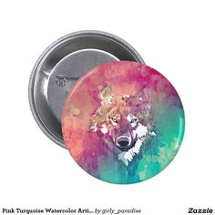 Pink Turquoise Watercolor Artistic Abstract Wolf 6 Cm Round Badge   Zazzle.co.uk