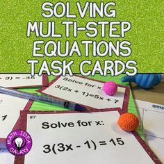 Use these task cards instead of worksheets to get students working with multi-step equations. They'll solve for x with multi-step equations that use the distributive property and fractions. Task cards can be used in so many ways- game play, math stations, 7th Grade Math, Math Class, Solving Equations, Teaching Strategies, Teaching Tools, Teaching Math, Class Activities, Winter Activities, Task Cards