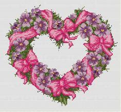 Violet Flowers Heart Cross Stitch Pattern