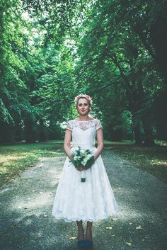 8ee818ad3b82 Beautiful bride Gemma in her sweet short wedding dress by Joanne Fleming