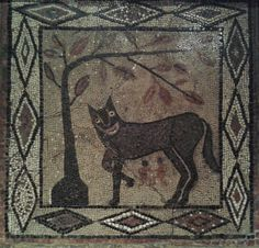 Roman mosaic, 300-400CE, in full, from Isurium Brigantum (Aldborough, North Yorkshire), on display in Leeds City Museum. The mosaic depicts the legend of Romulus and Remus (you do have to wonder if the artist had ever seen a real wolf...). #seeyorkshire