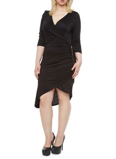 Plus Size Three-Quarter Sleeve Bodycon Dress With Side Zip and Ruching,BLACK