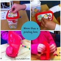 Homemade: More than a posting box.  Great for fine motor skills, bilateral coordination, in-hand manipulation and visual spatial skills.
