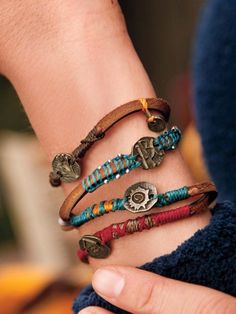 Each charm represents a treasured hope. Handmade by women artisans in Guatemala, the Dream Bracelet's suede cords, with fanciful metal charms and colorful threads, wraps round and round your wrist.