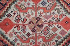 """South Persian Khamseh rug, Ca. 1900. 7'8"""" x 3'8"""" All good colors with nice shiny wool and good pile. 14 peacocks on the abundant ivory background spaces.  Original selvedges over-wrapped but  ..."""