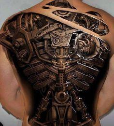 Black Biomechanical Men's Tattoo Designs