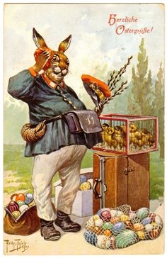 Postcard Thiele Rabbit Postman with Chicks Eggs Easter Greeting T s N 1240 | eBay