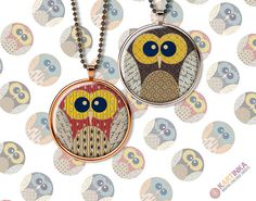 OWLS 4 Susan  7/8 inch circles  Digital Collage by KARTINKAshop, $3.50