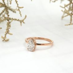 Rose gold ring, 5 claw, pear shaped brilliant cut diamond ring | Dear Rae | Commission