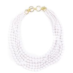 Matte Beaded Bib Necklace White ($42) ❤ liked on Polyvore featuring jewelry, necklaces, beaded necklaces, multi strand necklace, white bib necklace, beading jewelry and beaded jewelry