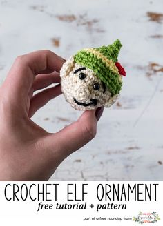 Crochet this easy elf helper amigurumi character christmas ornament from my free crochet christmas ornaments roundup!