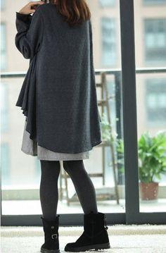 Waist free Maternity Dress faux two piece set long-sleeve Plus size