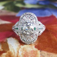 Edwardian 1920's Old European Cut Diamond & Emerald Engagement Anniversary Wedding Ring Platinum