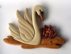 Swan Intarsia Wall Hanging by EntwoodCrafts on Etsy