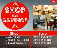 Now #Shop for #Savings. Upto 30% Off* on extensive range of #furniture with #affordable #prices at Evok. What are you waiting for shop now at www.evok.in