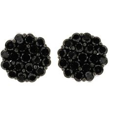 10k Black Gold 1 3/5ct TDW Round Black Diamond Composite Stud Earrings (€220) ❤ liked on Polyvore