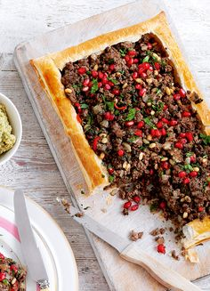 This wonderfully simple lamb tart recipe is excellent topped with a dollop of Greek yogurt and served with a fattoush salad. Savory Pastry, Savory Tart, Savoury Baking, Quiches, Lamb Mince Recipes, Savoury Recipes, Lebanese Recipes, Lebanese Cuisine, Lamb Dishes
