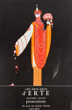 For Sale on - Original Vintage Decorative Art Deco Style Poster For Erte Exhibition Proscenium, Paper by Erté. Offered by Antikbar Limited. Art Deco Illustration, People Illustration, Illustrations, Vintage Advertising Posters, Vintage Posters, Barbie Fashion Sketches, Art Deco Stil, Art Deco Art, Art Deco Logo