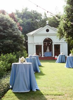 Cocktail Hour -- Pretty Blue Linens --  See More: http://www.StyleMePretty.com/southeast-weddings/2014/04/11/classic-southern-wedding-at-home/ Photography: LizBanfield.com
