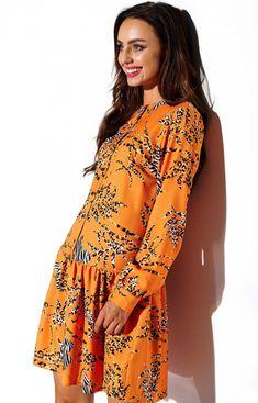 Lemoniade Koszulowa sukienka w kolorowe wzory L311/D8 Wrap Dress, Dresses With Sleeves, Boho, Long Sleeve, Casual, Products, Fashion, Moda, Gowns With Sleeves