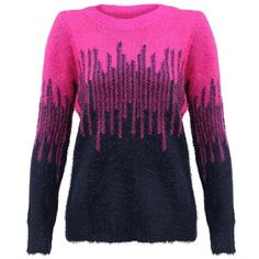 Hot Pink & Navy Blue Eyelash Long Sleeve Sweater ($26) ❤ liked on Polyvore featuring tops, sweaters, pink, over sized sweaters, navy sweater, navy blue sweater, navy oversized sweater and oversized sweaters