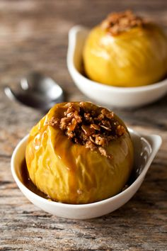 Inside-Out Apple Crisp | • 4 Granny Smith apples (cored & slighty hollowed down) • 1/2 C rolled oats • 2 TB butter • 3 TB brown sugar • 1 tsp pumpkin spice • caramel sauce for drizzling over baked apple