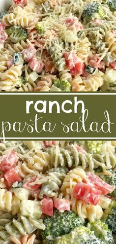 Ranch pasta salad is an easy and delicious side dish for summer picnics and bbq's. Only 6 ingredients and minutes to prepare. Tender pasta, cucumber, broccoli, tomatoes, and parmesan cheese covered in ranch dressing. So simple! #sidedish #pastasalad #easyrecipe