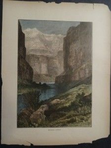 Hand colored wood engraving of Marble Canyon, 1873.