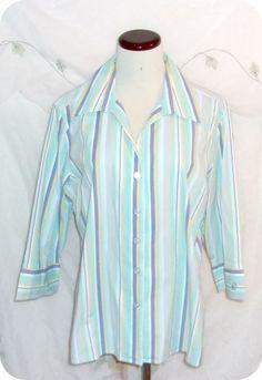 CARIBBEAN JOE Top Size XL Womens Purple Blue Multi Striped 3/4 Sleeve Cotton…